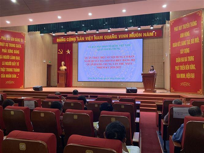 Ủy ban MTTQ Việt Nam quận Hai Bà Trưng khai mạc lớp tập huấn nghiệp vụ công tác Mặt trận năm 2020