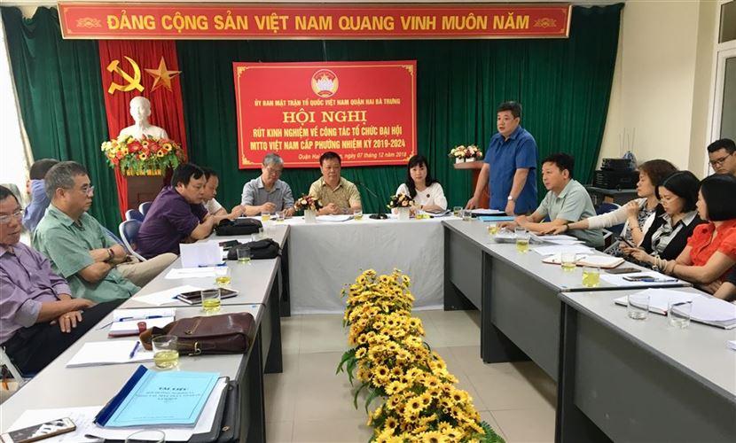 Quận Hai Bà Trưng đã tổ chức hội nghị rút kinh nghiệm công tác tổ chức Đại hội đại biểu MTTQ Việt Nam cấp phường nhiệm kỳ 2019-2024