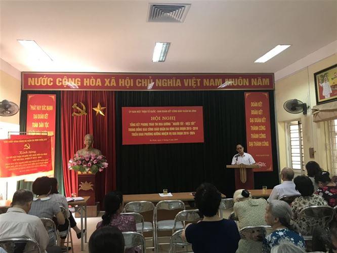 """Khen thưởng 06 cá nhân """"Người tốt, việc tốt"""" trong đồng bào Công giáo quận Ba Đình giai đoạn 2015-2019"""