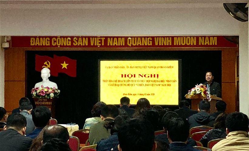 """Quận Hoàn Kiếm tổ chức triển khai kế hoạch liên tịch tổ chức hội nghị đại biểu Nhân dân, kế hoạch vận động ủng hộ quỹ """"Vì biển, đảo Việt Nam"""" năm 2020"""