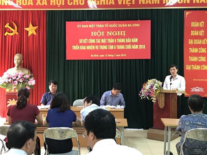 Ủy ban MTTQ Việt Nam quận Ba Đình sơ kết công tác Mặt trận 6 tháng đầu năm 2018