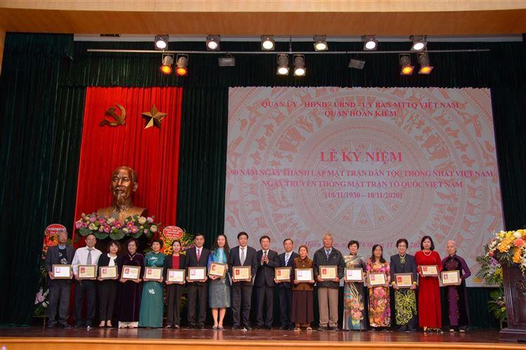 Quận Hoàn Kiếm tổ chức Lễ kỷ niệm 90 năm ngày thành lập Mặt trận Dân tộc thống nhất Việt Nam - Ngày truyền thống Mặt trận Tổ quốc Việt Nam.