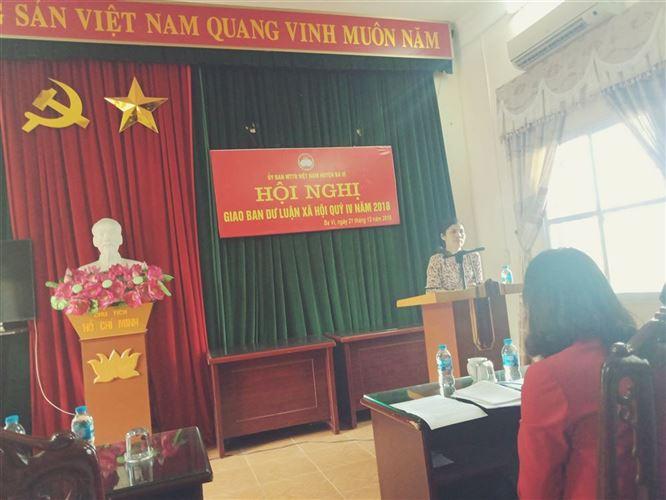 Huyện Ba Vì tổ chức hội nghị giao ban Dư luận xã hội quý IV năm 2018.