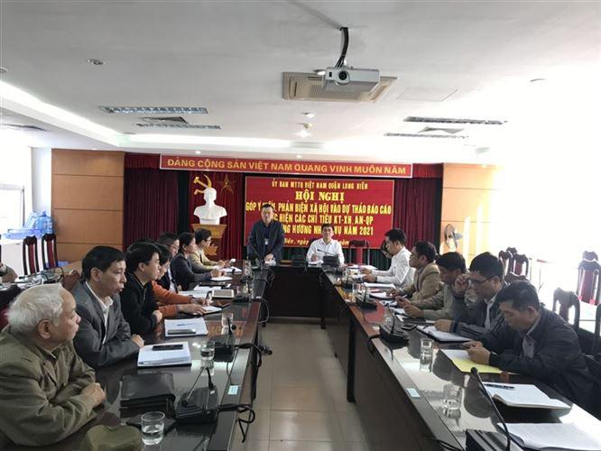 Hội nghị đóng góp ý kiến, phản biện xã hội của Mặt trận Tổ quốc quận vào Dự thảo báo cáo kết quả thực hiện nhiệm vụ kinh tế xã hội, an ninh quốc phòng năm 2020, phương hướng nhiệm vụ trọng tâm năm 2021