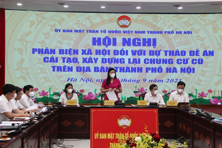 Ủy ban MTTQ Việt Nam Thành phố Phản biện xã hội đối với dự thảo Đề án Cải tạo, xây dựng lại chung cư cũ trên địa bàn Thành phố Hà Nội