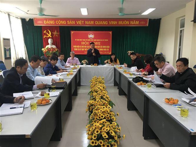 Ủy ban MTTQ Việt Nam quận Hai Bà Trưng phản biện xã hội  về các dự thảo báo cáo của UBND quận trình tại kỳ họp thứ 9  HĐND khóa XIX nhiệm kỳ 2016-2021