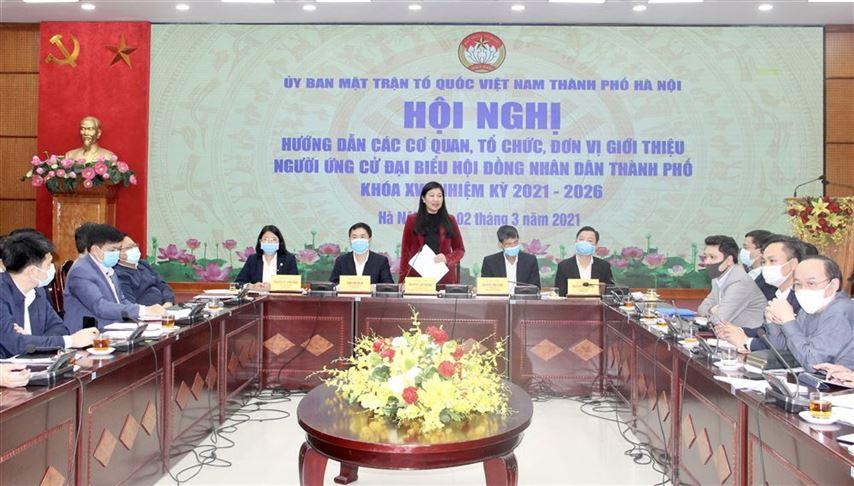 Ban Thường trực Ủy ban MTTQ Việt Nam Thành phố tổ chức Hội nghị hướng dẫn giới thiệu người ứng cử đại biểu Hội đồng nhân dân Thành phố khoá XVI, nhiệm kỳ 2021 - 2026
