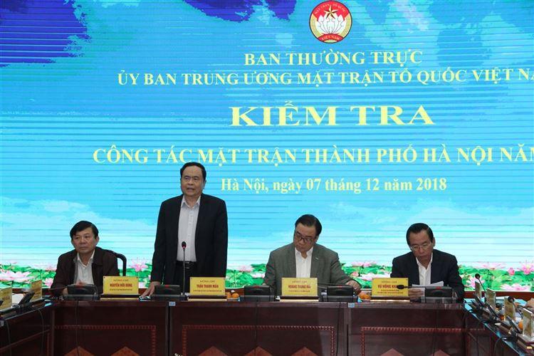 Ban Thường trực Ủy ban Trung ương MTTQ Việt Nam kiểm tra công tác Mặt trận thành phố Hà Nội năm 2018.