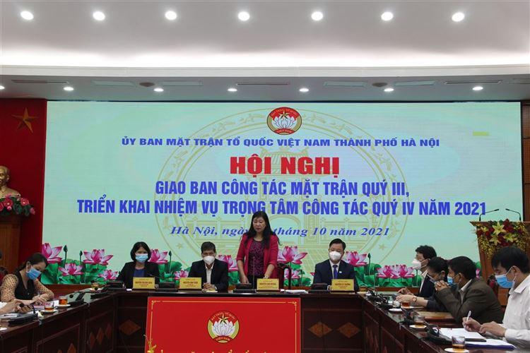 Hội nghị trực tuyến giao ban công tác Mặt trận Quý III của Ủy ban Trung ương MTTQ Việt Nam và giao ban công tác Mặt trận Thành phố quý III, triển khai nhiệm vụ trọng tâm quý IV năm 2021