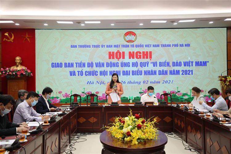 """Mặt trận Thành phố tổ chức hội nghị giao ban tiến độ vận động ủng hộ Quỹ """"Vì biển, đảo Việt Nam"""" và Hội nghị Đại biểu nhân dân (ĐBND) năm 2021."""