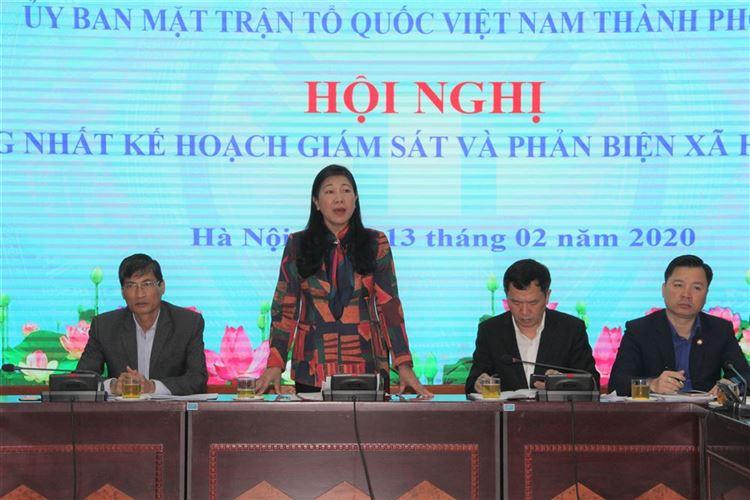 Thống nhất kế hoạch giám sát, phản biện xã hội của MTTQ các cấp thành phố Hà Nội năm 2020