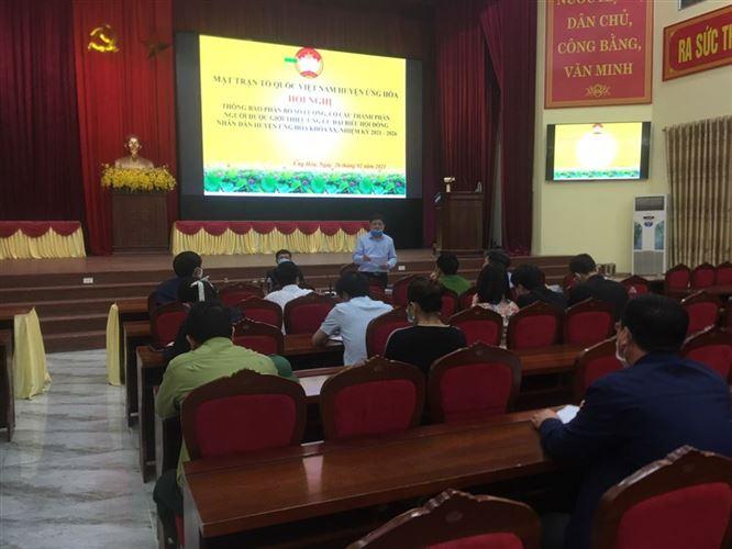 Ủy ban MTTQ Việt Nam huyện Ứng Hòa thông báo phân bổ số lượng, cơ cấu, thành phần người được giới thiệu ứng cử Đại biểu Hội đồng nhân dân huyện khóa XX, nhiệm kỳ 2021 - 2026