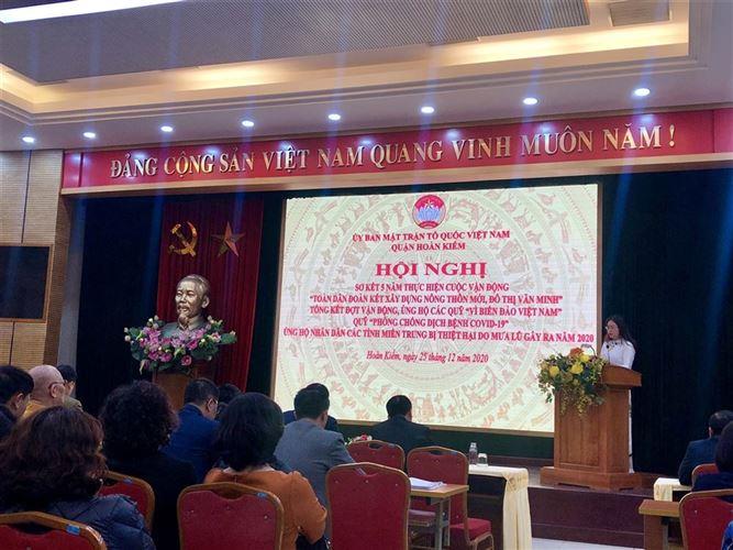 Quận Hoàn Kiếm tổ chức sơ kết 5 năm thực hiện Cuộc vận động  Toàn dân đoàn kết xây dựng nông thôn mới, đô thị văn minh và các đợt vận động ủng hộ trong năm 2020
