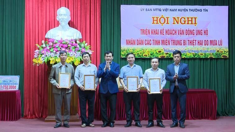 Ủy ban MTTQ Việt Nam huyện Thường Tín phát động ủng hộ đồng bào các tỉnh miền Trung bị ảnh hưởng lũ lụt