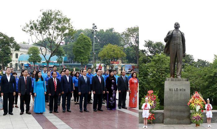 Lãnh đạo thành phố Hà Nội dâng hoa tưởng niệm tại Tượng đài V.I.Lênin