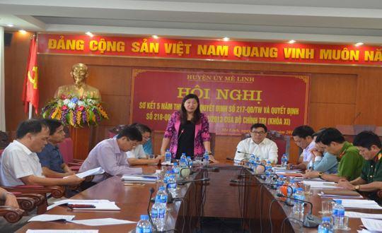 Mê Linh phối hợp tổ chức Hội nghị sơ kết 5 năm thực hiện Quyết định số 217, 218 ngày 12/12/2013 của Bộ Chính trị (khóa XI)