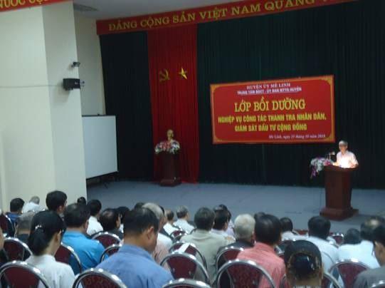 Huyện Mê Linh tổ chức tập huấn nghiệp vụ công tác Thanh tra nhân dân, Giám sát đầu tư của cộng đồng và hòa giải ở cơ sở năm 2018.