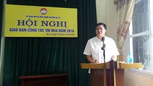 Huyện Ba Vì tổ chức hội nghị giao ban thi đua công tác Mặt trận năm 2018