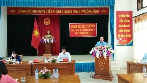 Huyện Đan Phượng tổ chức hội nghị tiếp xúc giữa tổ đại biểu HĐND TP Hà Nội với cử tri xã Liên Hà