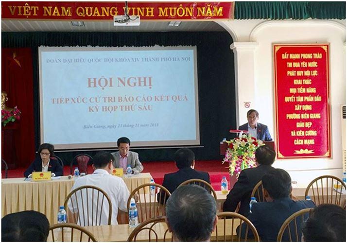 Đại biểu Quốc hội TP Hà Nội tiếp xúc cử tri quận Hà Đông báo cáo kết quả kỳ họp thứ 6 Quốc hội khóa XIV6058