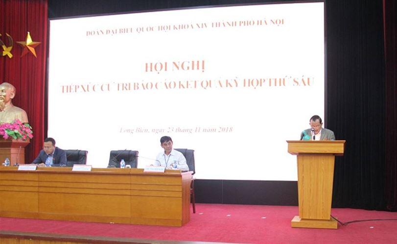 Đại biểu Quốc hội thành phố Hà Nội tiếp xúc với cử tri quận Long Biên sau kỳ họp thứ Sáu, Quốc hội khoá XIV