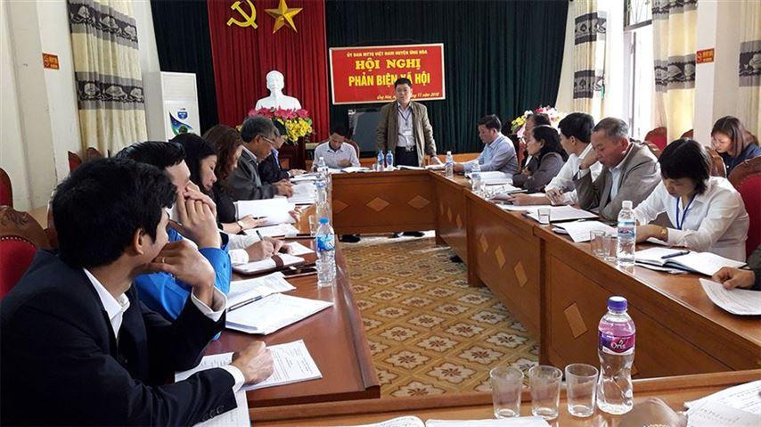 Ủy ban MTTQ Việt Nam huyện Ứng Hòa  tổ chức hội nghị phản biện xã hội, kỳ họp cuối năm 2018