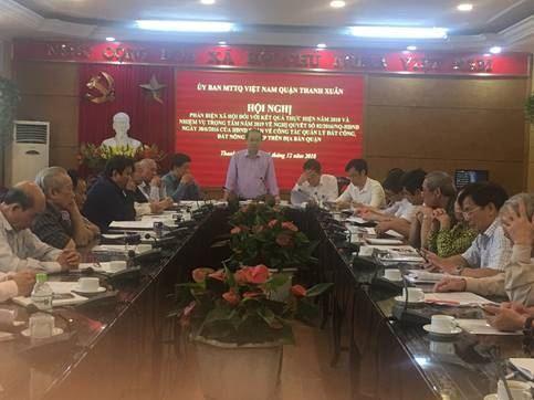 Ủy ban MTTQ Việt Nam quận Thanh Xuân phản biện xã hội về dự thảo kết quả thực hiện quản lý đất công, đất nông nghiệp trên địa bàn quận