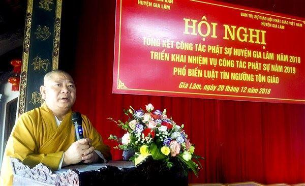 Gia Lâm tổ chức hội nghị tổng kết công tác Phật sự năm 2018.