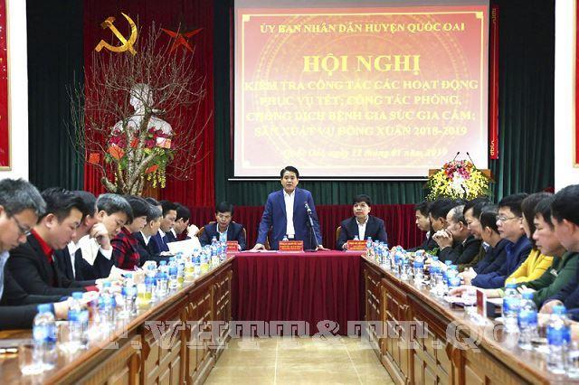 Chủ tịch UBND TP Nguyễn Đức Chung thăm và làm việc tại huyện Quốc Oai