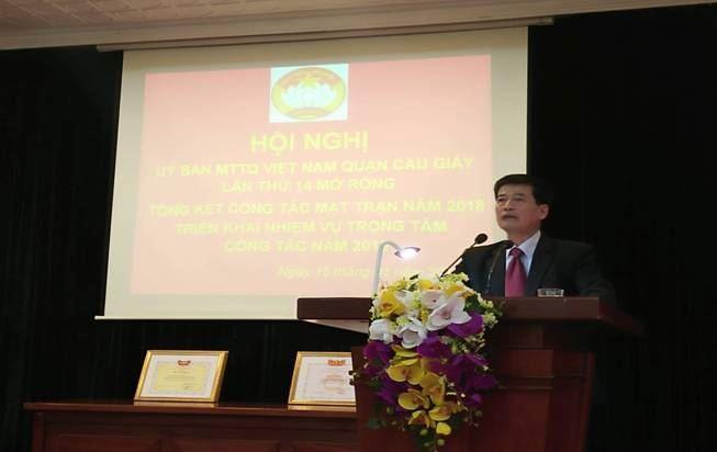 Ủy ban MTTQ Việt Nam quận Cầu Giấy tổng kết công tác Mặt trận năm 2018, triển khai nhiệm vụ trọng tâm năm 2019