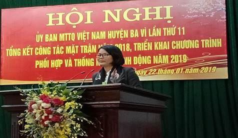 Ủy ban MTTQ Việt Nam huyện Ba Vì tổ chức hội nghị lần thứ 11  và tổng kết công tác Mặt trận năm 2018.