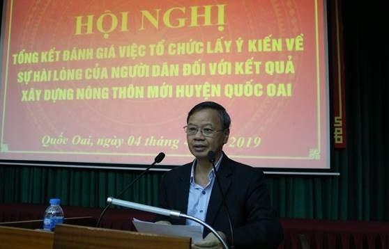 Huyện Quốc Oai tổng kết đánh giá kết quả tổ chức lấy ý kiến về sự hài lòng của người dân về kết quả xây dựng nông thôn mới của huyện.