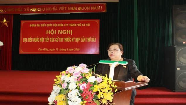 Đoàn đại biểu Quốc hội khóa XIV thành phố Hà Nội tiếp xúc với cử tri Quận Cầu Giấy đơn vị bầu cử số 3 trước kỳ họp thứ 7