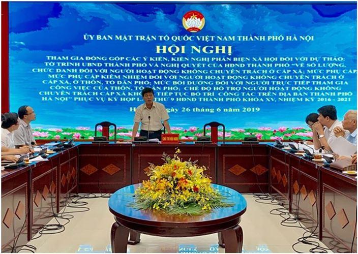 Ủy ban MTTQ Thành phố Hà Nội tổ chức Hội nghị phản biện xã hội đối với dự thảo Nghị quyết