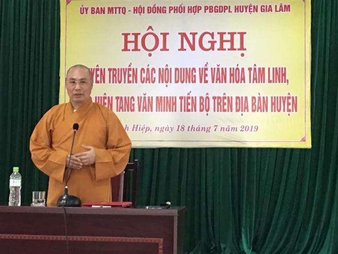Ủy ban MTTQ Việt Nam huyện Gia Lâm phối hợp tổ chức tuyên truyền các nội dung về văn hóa tâm linh, thực hiện tang văn minh tiến bộ