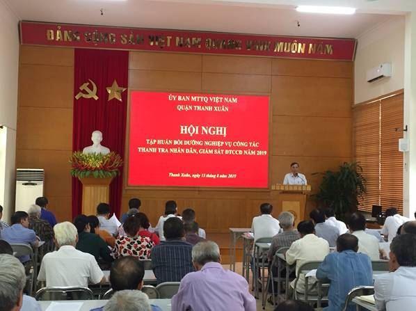 Thanh Xuân tập huấn nghiệp vụ công tác Thanh tra nhân dân, giám sát đầu tư của cộng đồng năm 2019