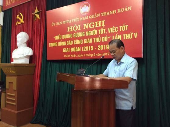 Ủy ban MTTQ Việt Nam quận Thanh Xuân tổ chức hội nghị biểu dương điển hình tiên tiến trong đồng bào Công giáo giai đoạn 2015-2019