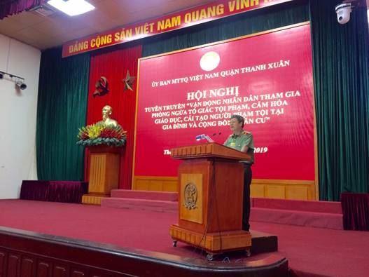 Quận Thanh Xuân tuyên truyền về công tác phòng chống tội phạm trên địa bàn năm 2019.