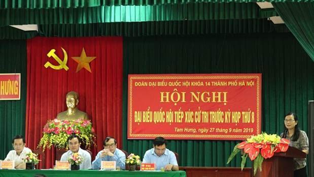 Đoàn đại biểu Quốc hội Thành phố Hà Nội tiếp xúc cử tri trước kỳ họp thứ Tám, Quốc hội khóa XIV tại xã Tam Hưng, huyện Thanh Oai
