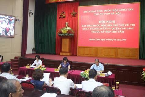 Đại biểu Quốc hội TP tiếp xúc với cử tri quận Thanh Xuân và quận Cầu Giấy trước kỳ họp thứ 8, Quốc hội khóa XIV