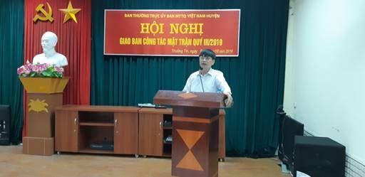 Ủy ban MTTQ Việt Nam huyện Thường Tín tổ chức hội nghị giao ban công tác quý III năm 2019