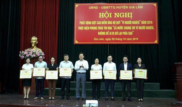 """Gia Lâm - Hội nghị phát động đợt cao điểm ủng hộ quỹ """"Vì người nghèo"""" năm 2019"""