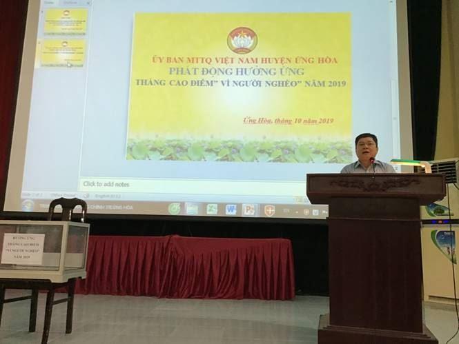 """Huyện Ứng Hòa phát động hưởng ứng tháng cao điểm """"Vì người nghèo"""" năm 2019"""