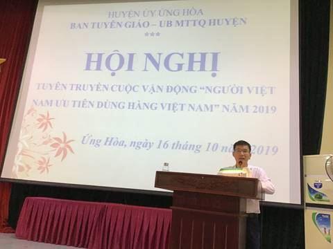 """Huyện Ứng Hòa tổ chức hội nghị tuyên truyền về Cuộc vận động """"Người Việt Nam ưu tiên dùng hàng Việt Nam""""."""