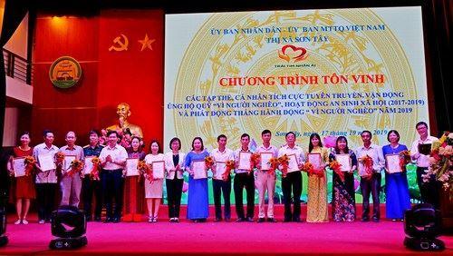 """Thị xã Sơn Tây tổ chức Chương trình tôn vinh và phát động Tháng hành động """"Vì người nghèo"""" năm 2019."""