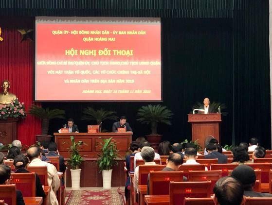 Hội nghị đối thoại giữa người đứng đầu cấp ủy, chính quyền với Mặt trận tổ quốc, các tồ chức chính trị xã hội và nhân dân trên địa bàn quận Hoàng Mai năm 2019