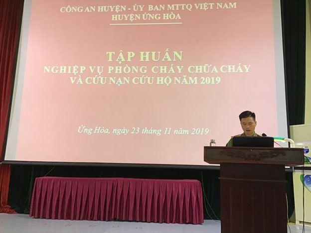 Ủy ban MTTQ huyện Ứng Hòa tập huấn công tác  phòng cháy chữa cháy và cứu nạn cứu hộ năm 2019