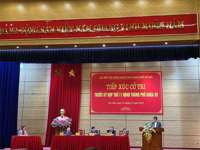 Hội nghị tiếp xúc cử tri huyện Sóc Sơn- Đơn vị bầu cử số 23 với đại biểu HĐND Thành phố trước kỳ họp thứ 11, khóa XV HĐND Thành phố