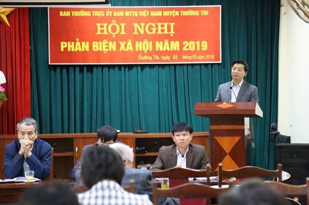 Huyện Thường Tín tổ chức hội nghị phản biện xã hội vào dự thảo báo cáo tình hình thực hiện nhiệm vụ phát triển kinh tế - xã hội năm 2019 của UBND huyện