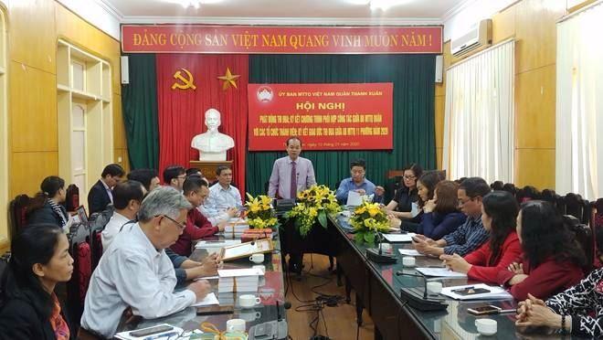Hội nghị phát động thi đua, ký kết chương trình phối hợp công tác của Ủy ban MTTQ Việt Nam quận Thanh Xuân năm 2020